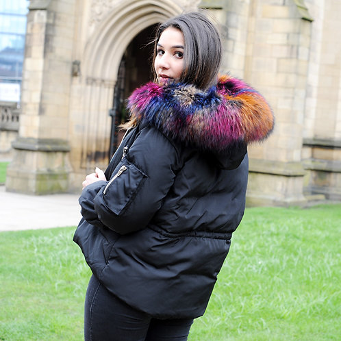 DMGD03C Black  Down Jacket With Racccoon Fur Collar