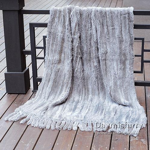 "DMD20G Knit Rabbit Fur Throw With Tassels  45""x 75"""