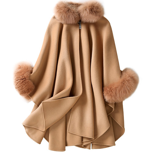 DMBP19 Cashmere Poncho with Camel Fox Fur Trim