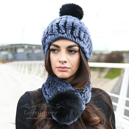 DMC94G Rex Rabbit Fur Beanie Fur Hat Fur Scarf  Set