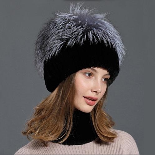 DMC86B Rex Rabbit Fur Fox Fur Hat and Snood Set
