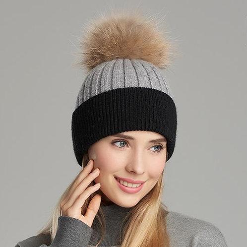 DMC45D  Wool Beanie Hat With Raccoon Pom Pom