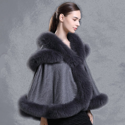 DMBP66D Cashmere Cape with Detachable Hood and Fox Fur Trim