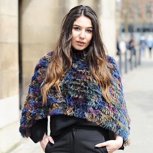 DMB47A New Trend Knit Rabbit Fur Ponch
