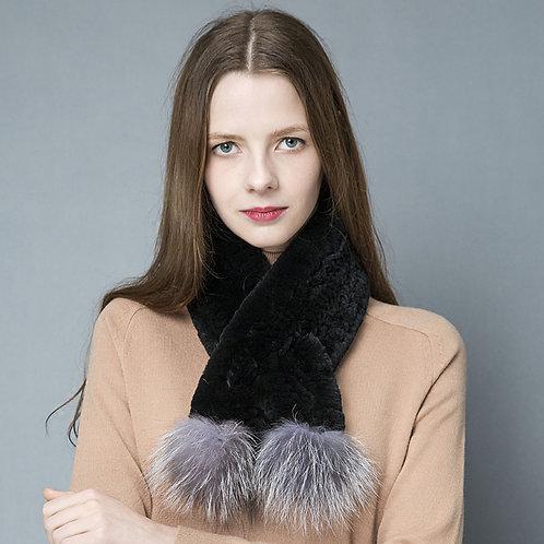 DMS80A Rex Rabbit Fur Knit Scarf With Silver Fox Fur Pom Pom