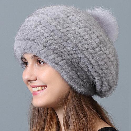 DMC223E Knit Mink Fur Beanie Hat
