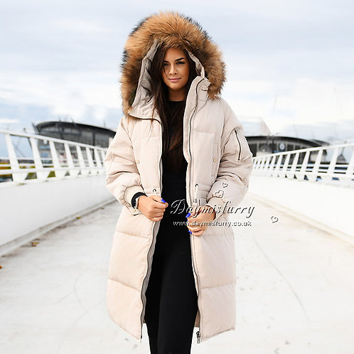 DMGD05C Beige Down Jacket With Raccoon Fur Trim