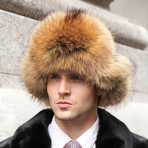 DMC38C Finn Raccoon Fur and Waterproof Fabric Russian Fur Hat