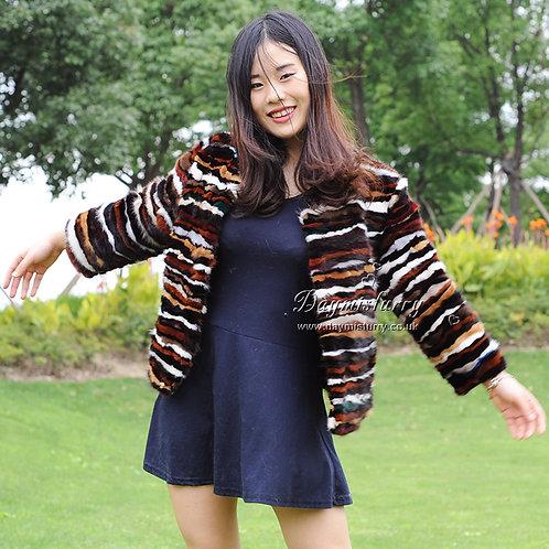 DMGA64 Patchwork Multi Color Mink Fur Jacket