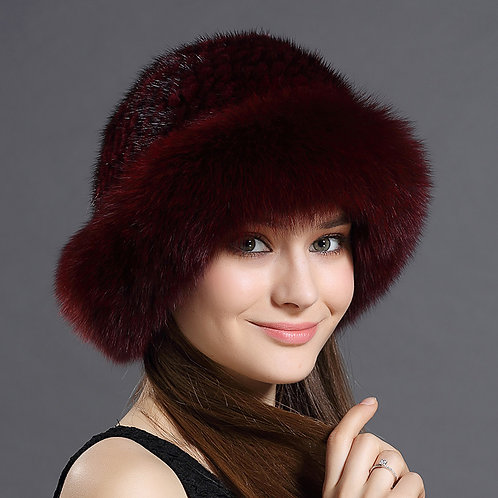 DMC209E Fox Fur Roller Hat with Mink Top - Wine Red