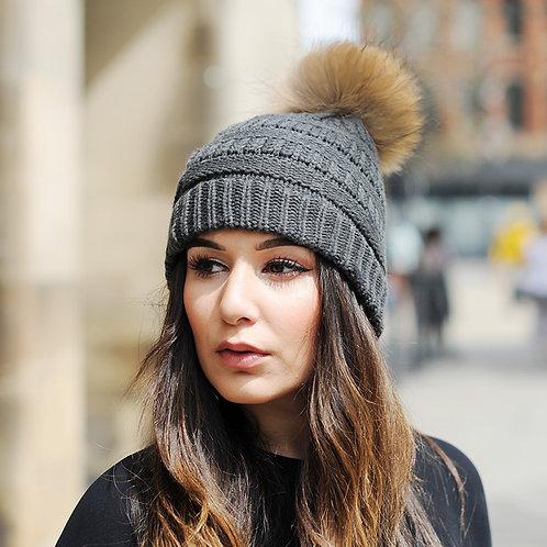 DMC34B  Knit  Beanie Hat With Finn Raccoon Pom Pom