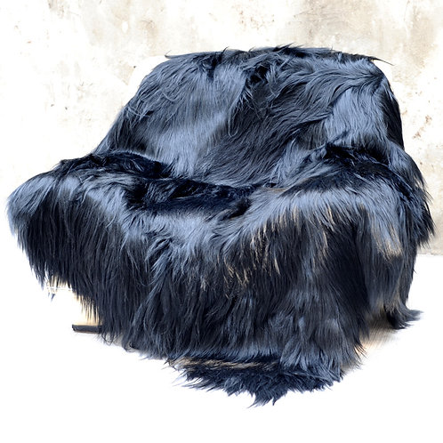 DMD111 Trendy Black Goat Fur Blanket / Throw