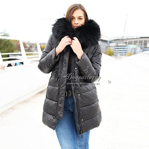 DMGD01A Black Down Jacket With Raccoon Fur Trim