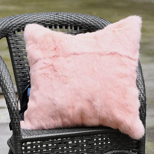 DMD05G Full Pelt Rabbit Fur Pillow - Pink