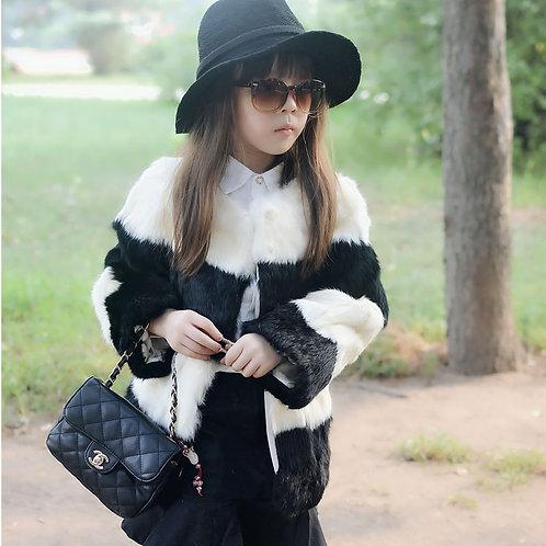 DMGC06A Rabbit Fur Kid's Coat In Black And White