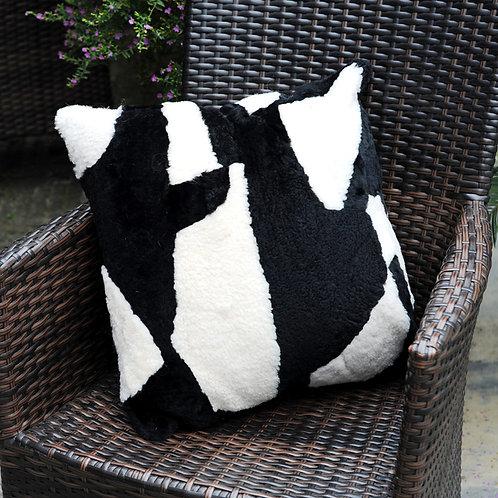 DMD97B  Patch Work Shearing Sheep Fur Pillow / Cushion Case