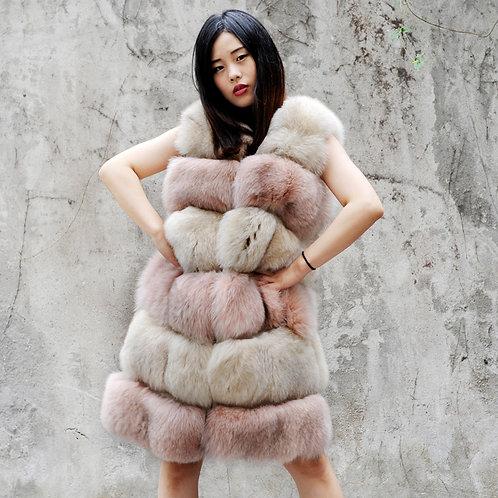 DMGB05B Super Luxury Fox Fur Horizontal Design Gilet In Pink And Beige