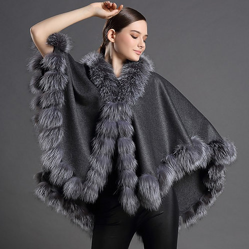 DMBP22B Super Luxe Cashmere Cape with Fox Fur Trim