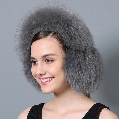 DMA72C Grey Fox Fur Earmuffs With Matching Fur Band