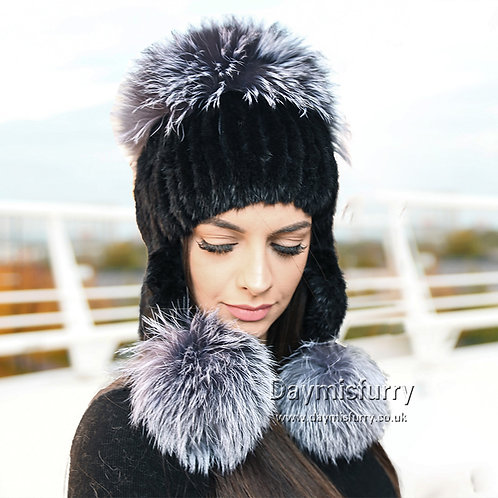 DMC61G  Mink Fur Hat With Silver Fox Fur Pom Poms