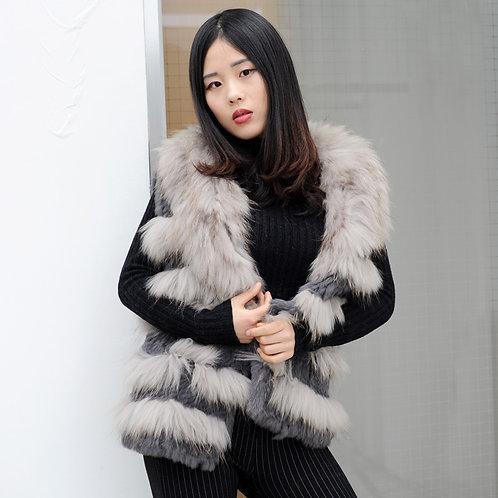 DMGB134 Knit Rabbit Fur Gilet With Raccoon Fur Trimming