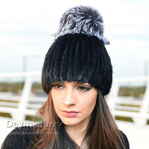 DMC164D Black Mink Fur Beanie Hat With Fox Fur Pom Pom