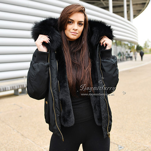 DMGP19R Faux Fur Lined Bomber With Raccoon Fur Collar
