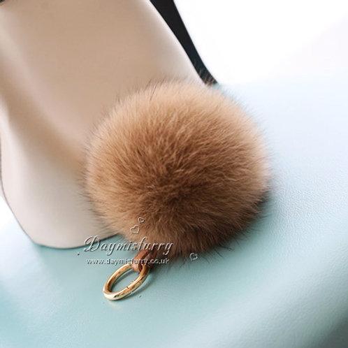 Fox Fur Pom Pom Bag Charm Pendant - Camel