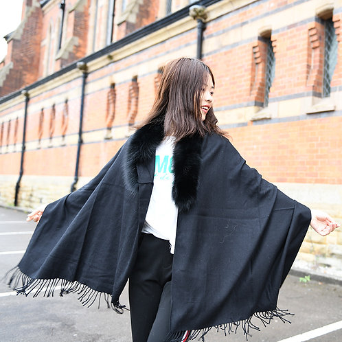 DMBP64 Black Cashmere-like Cape With Fox Fur Trim