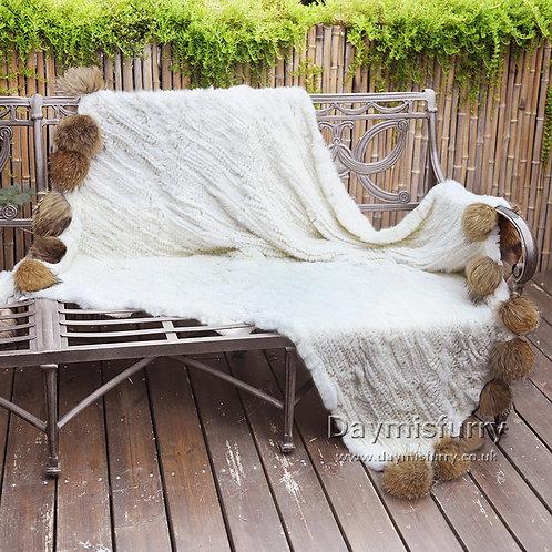 DMD108 Knit Rex Rabbit Fur Throw With Raccoon Fur Pom Pom - Cream