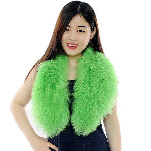 Detachable Mongolia Lamb Fur Collar In Green
