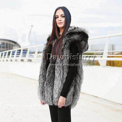 DMGB142 Silver Fox Fur Vest With Hood