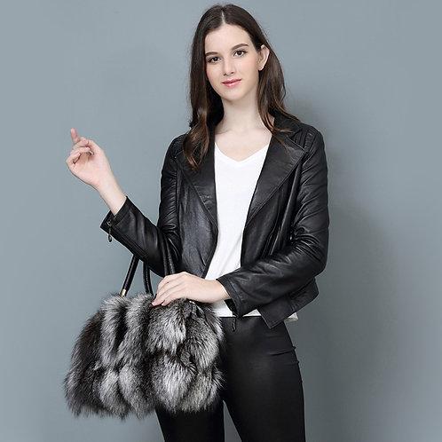 DMH34 Finn Silver Fox Fur and Leather Purse Lady Handbag