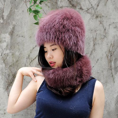 DMC01E Finn Fox Fur Hat And Neck Warmer Set In Plum