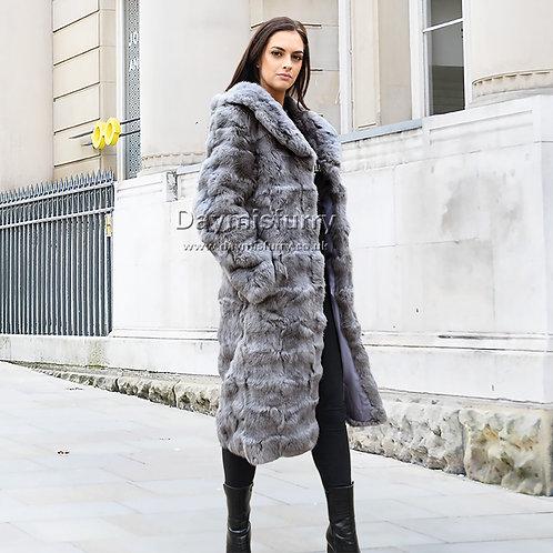 DMGA124C  Patched Rabbit Fur Long Coat