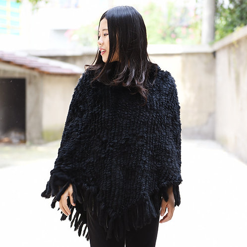 DMB22  Rabbit Fur Knit Cape With Hood in Black