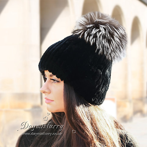 DMC83G Rex Rabbit Fur Hat With Fox Fur Pom Pom