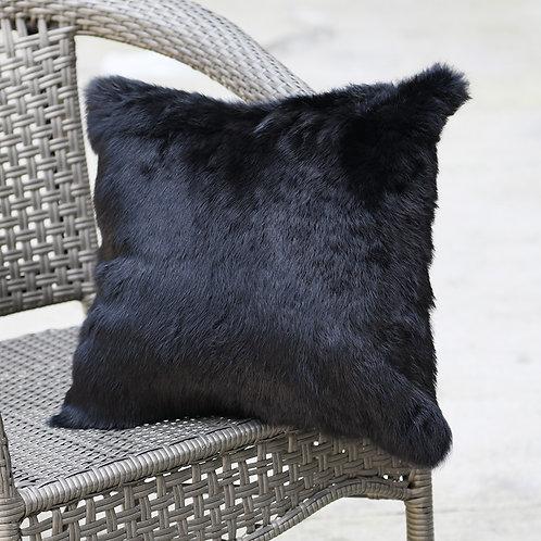 DMD05C Full Pelt Rabbit Fur Pillow Case - Black