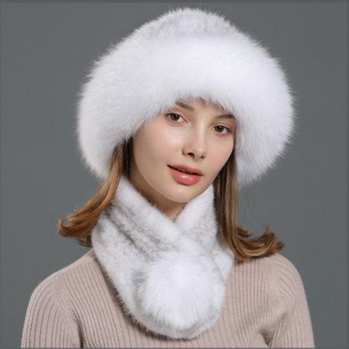 DMC99H  Fox Fur Roller Mink Fur Hat Scarf Set