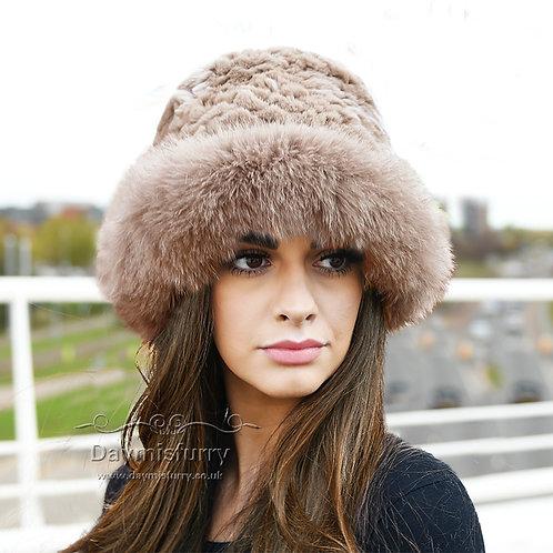 DMC02E  Rex Rabbit Fur Hat With Fox Fur Trim - Light Brown