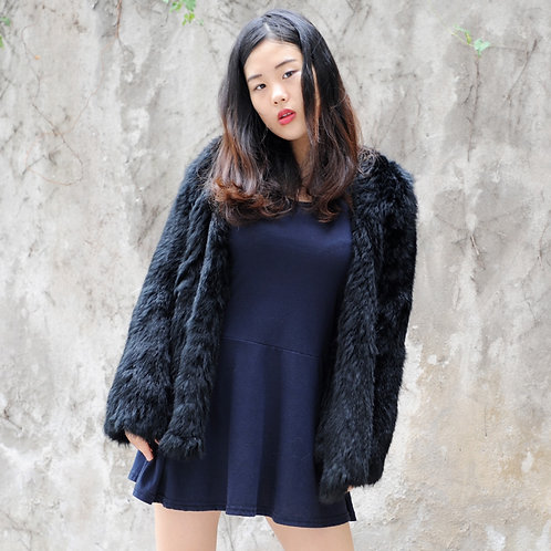 DMGA149 Rabbit Fur Lady Coat In Black