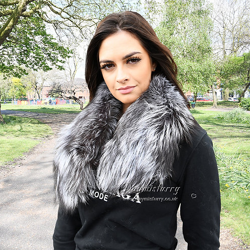 DMA76Q Large Detachable Silver Fox Fur Parka Collar