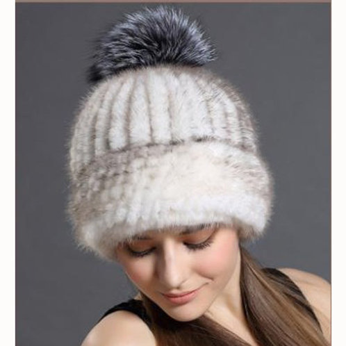 DMC239A Knit Mink Fur Hat With Fox Fur Pom