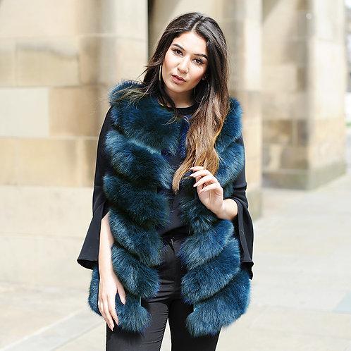 DMGB04H Fox Fur Horizontal Design Lady Gilet