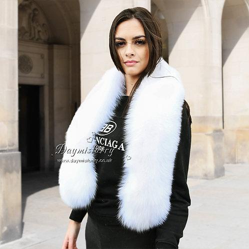 DMS28B White Fox Fur Shoulder Wrap / Stole / Collar