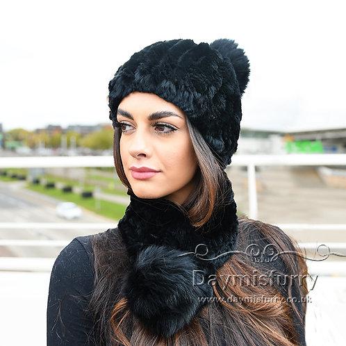 DMC94F Rex Rabbit Fur Beanie Fur Hat Fur Scarf  Set