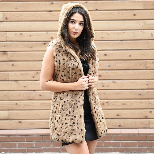 DMGB38 Leopard Print Rabbit Fur Gilet with Hood
