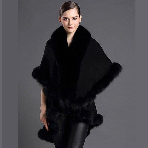 DMBP70 Black Gia Layered  Fox Fur Trim Cashmere Cape
