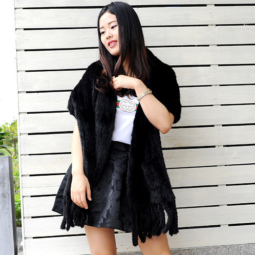 DMBM08A Knitted Black Mink Fur Shawl with Fringes