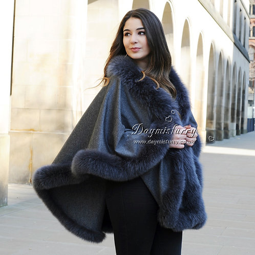 DMBP67B Large Cashmere Shawl with Fox Fur Trim